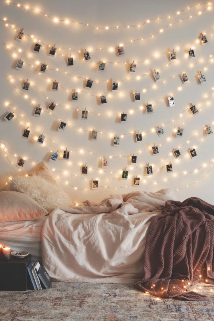 Using string lights as a framless picture frame.