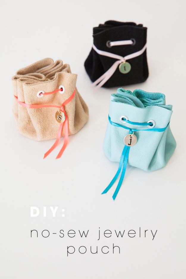 Best DIY Gifts for Girls - No Sew Jewelry Pouch - Cute Crafts and DIY Projects that Make Cool DYI Gift Ideas for Young and Older Girls, Teens and Teenagers - Awesome Room and Home Decor for Bedroom, Fashion, Jewelry and Hair Accessories - Cheap Craft Projects To Make For a Girl for Christmas Presents http://diyjoy.com/diy-gifts-for-girls