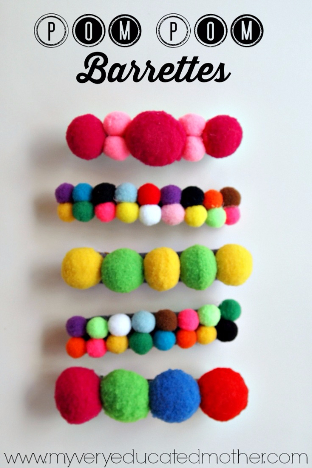 Best DIY Gifts for Girls - Pom Pom Barettes - Cute Crafts and DIY Projects that Make Cool DYI Gift Ideas for Young and Older Girls, Teens and Teenagers - Awesome Room and Home Decor for Bedroom, Fashion, Jewelry and Hair Accessories - Cheap Craft Projects To Make For a Girl for Christmas Presents http://diyjoy.com/diy-gifts-for-girls