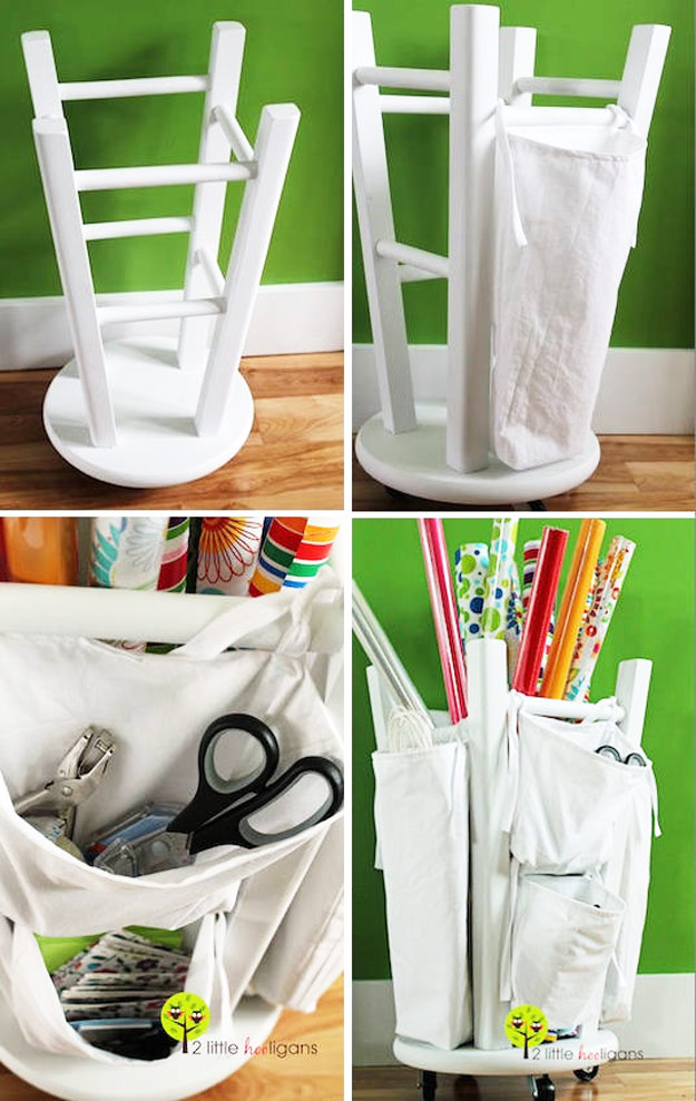 DIY Furniture Hacks | Wooden Stool into a Tool and Crafts Organizer | Cool Ideas for Creative Do It Yourself Furniture | Cheap Home Decor Ideas for Bedroom, Bathroom, Living Room, Kitchen - http://diyjoy.com/diy-furniture-hacks