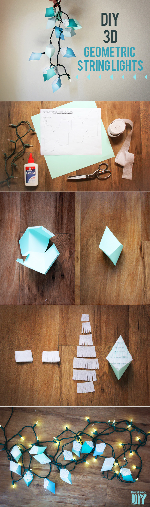 String Light DIY ideas for Cool Home Decor | 3-D Geometric Hexahedron String Lights are Fun for Teens Room, Dorm, Apartment or Home | http://diyprojectsforteens.com/diy-string-light-ideas/