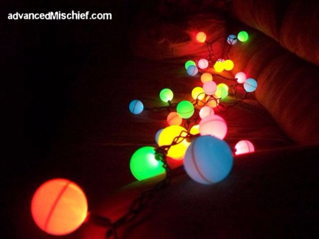 String Light DIY ideas for Cool Home Decor | Ping Pong Ball Lights are Fun for Teens Room, Dorm, Apartment or Home | http://diyprojectsforteens.com/diy-string-light-ideas/