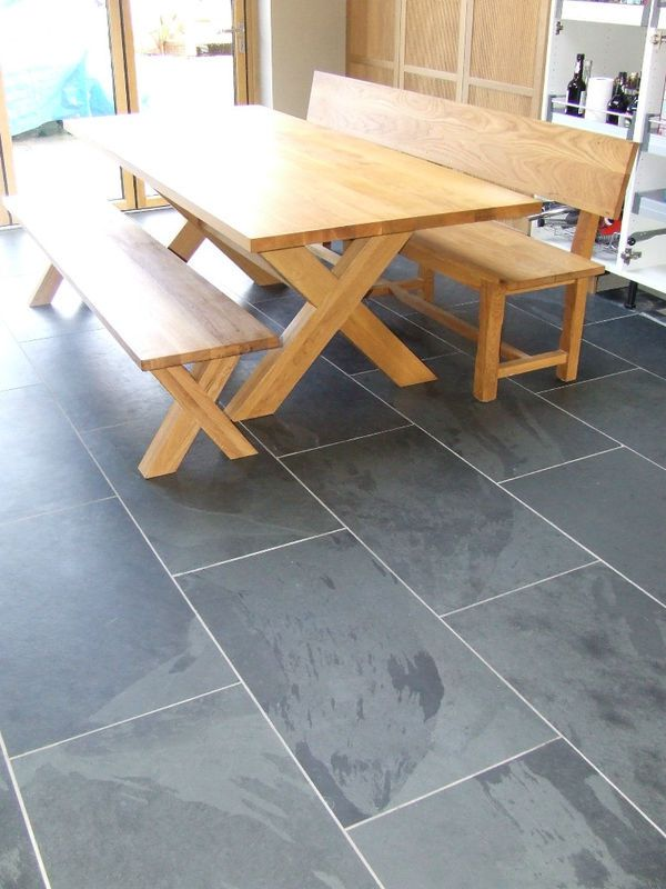 Black and Grey Slate Floor Tiles