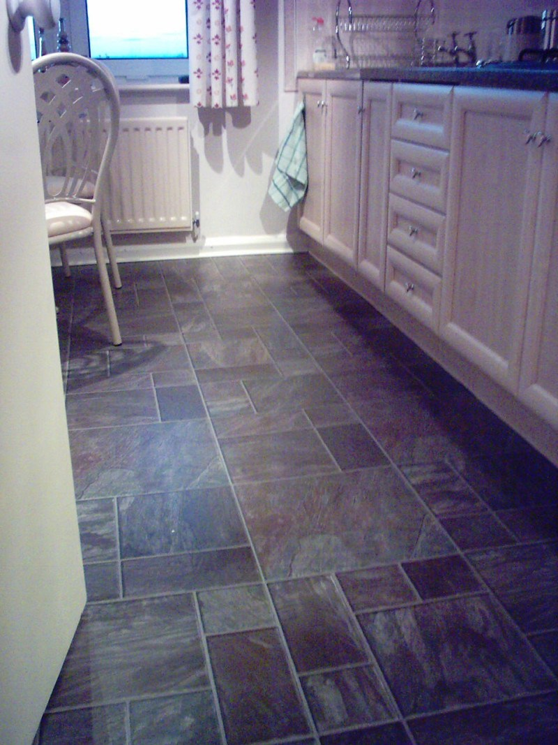 Blue slate effect floor tiles