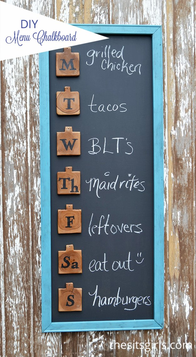DIY Kitchen Decor Ideas - DIY Menu Board - Creative Furniture Projects, Accessories, Countertop Ideas, Wall Art, Storage, Utensils, Towels and Rustic Furnishings http://diyjoy.com/diy-kitchen-decor-ideas