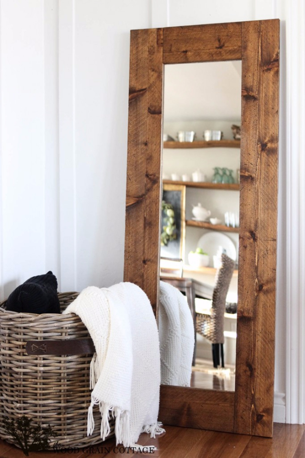 DIY Wood DIY Farmhouse Style Decor Ideas - DIY Wood Framed Mirror - Rustic Ideas for Furniture, Paint Colors, Farm House Decoration for Living Room, Kitchen and Bedroom http://diyjoy.com/diy-farmhouse-decor-ideasMirror