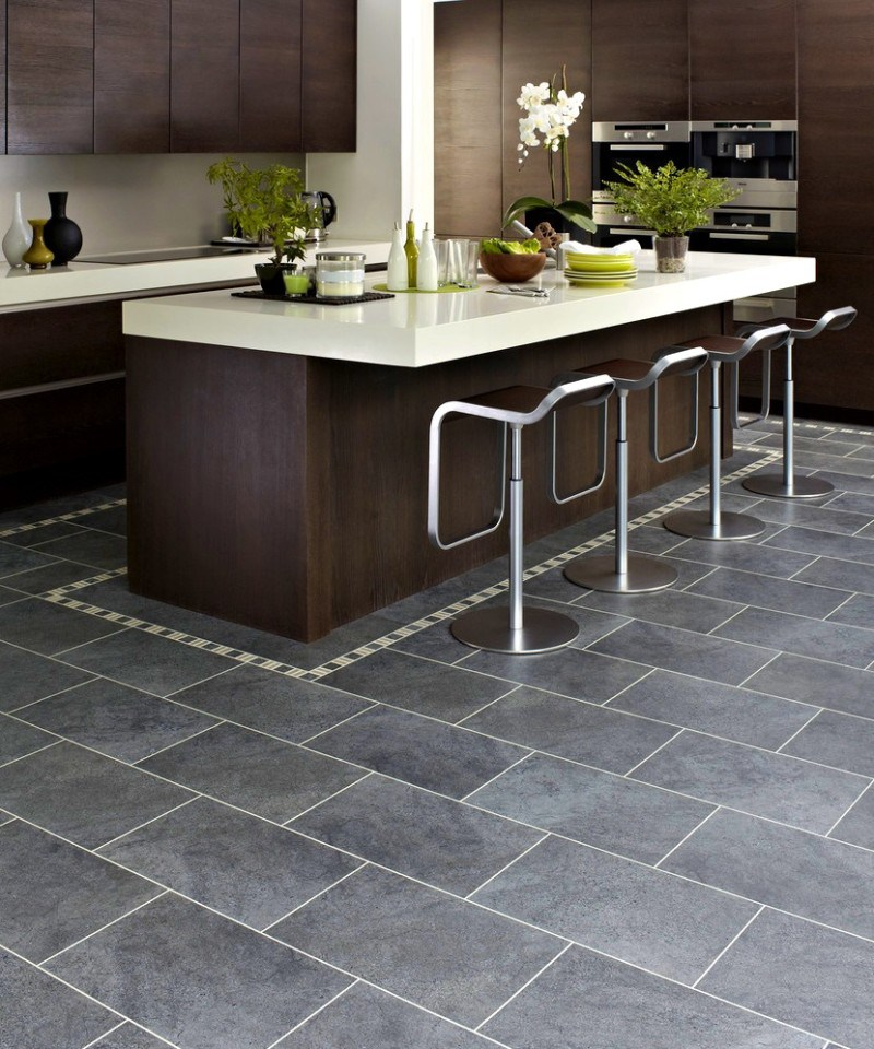 Delightful Dark Grey Kitchen Floor Tiles