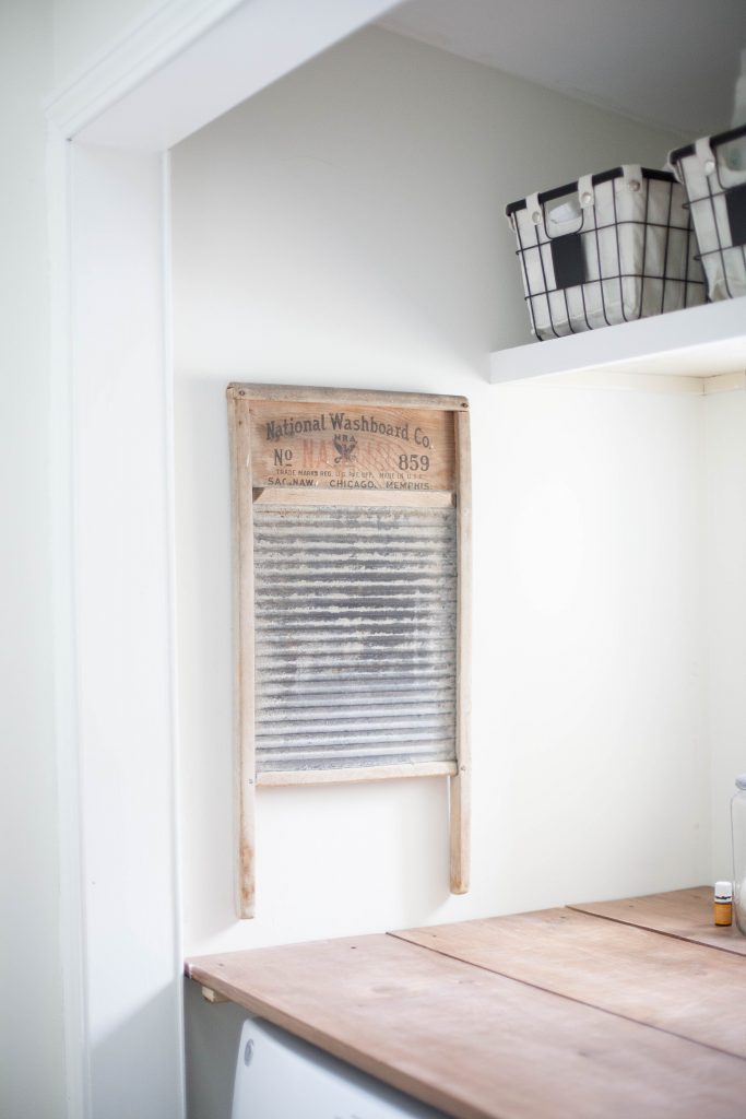 A vintage washboard makes for fun laundry room decor!