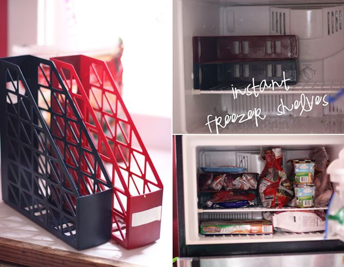 Magazine holders are used as DIY freezer shelves