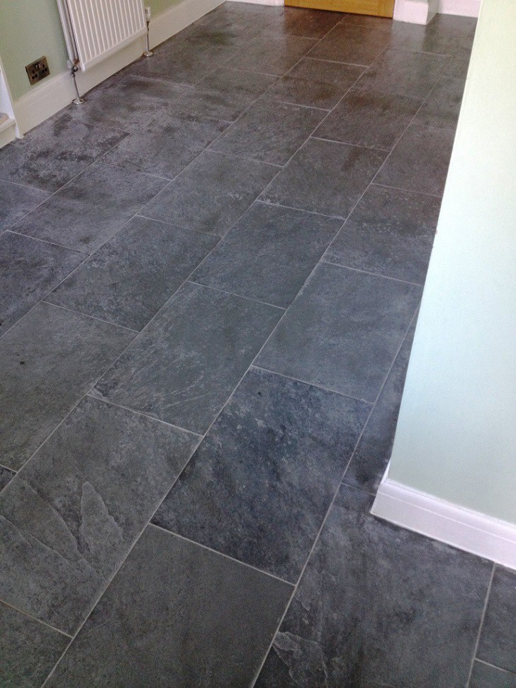 Slate Floor Before Cleaning In Shepperton