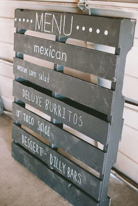 Wooden pallets menu