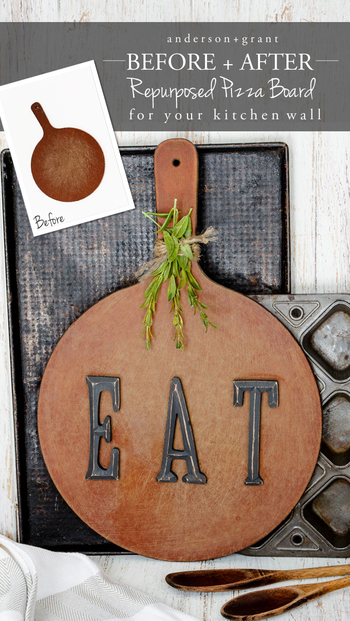 Learn how to repurpose an old cutting board into rustic art for your kitchen.   www.andersonandgrant.com