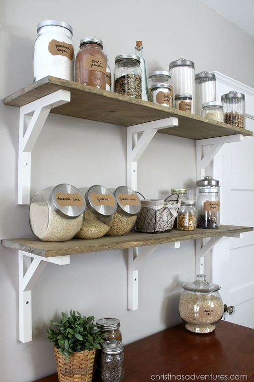 open shelving pantry with glass containers
