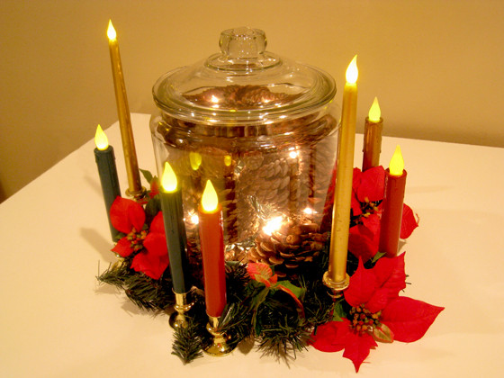 Lighted Pine Cone Jar Christmas Centerpiece
