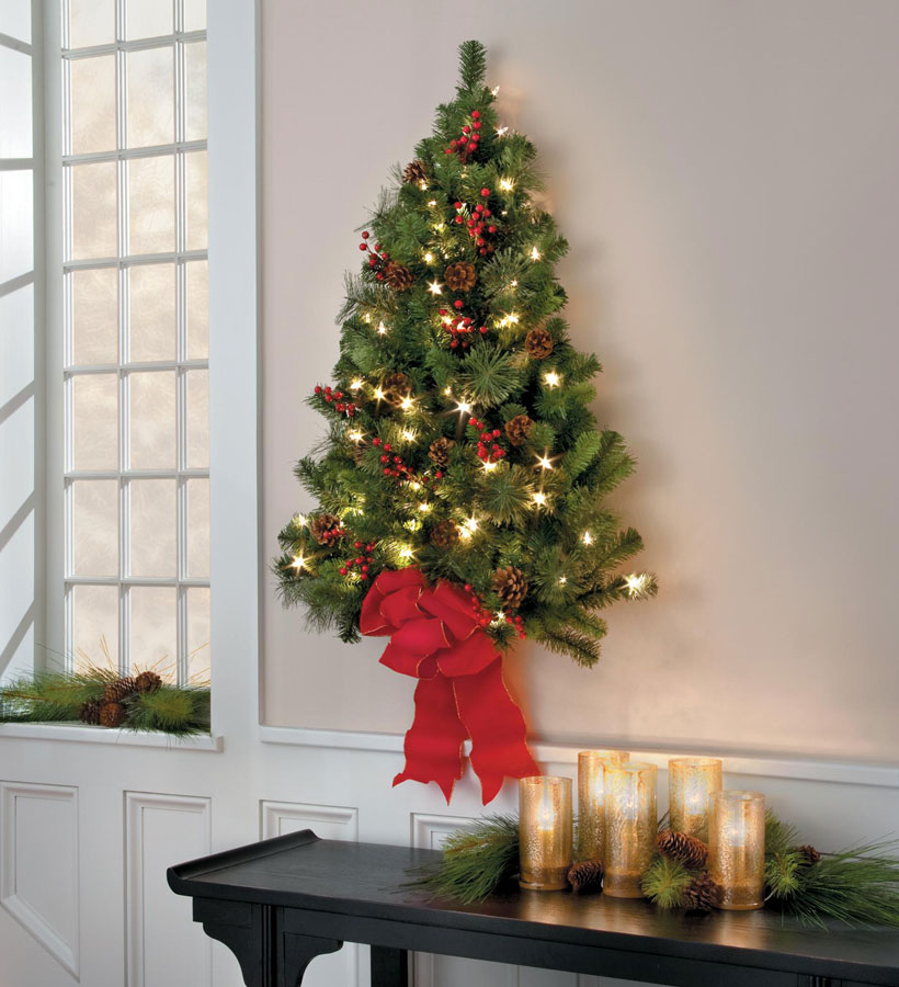 How to Decorate a Small Spaces for Christmas-Lighted Wall Tree