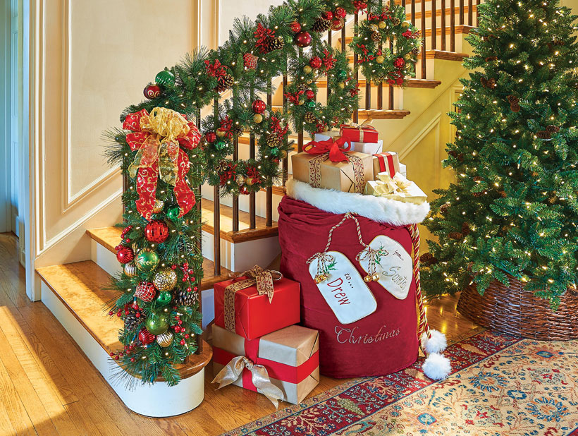 How to Decorate a Small Spaces for Christmas-Wrap Banister in Garland