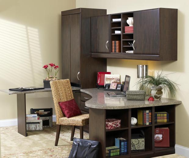 Transitional Home Office with straight back wicker chair