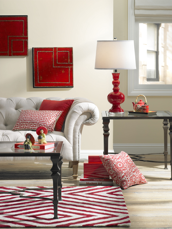 Colorful Living Room Decorating in Red