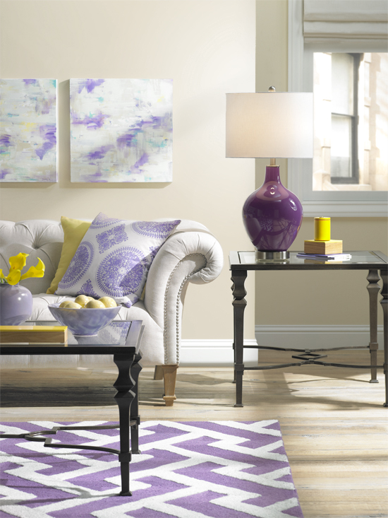 Colorful Living Room Decorating in Purple