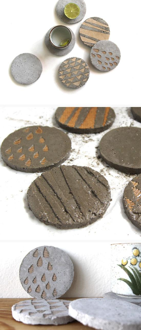 Concrete Coasters With Decorative Inserts | Click Pic for 28 DIY Kitchen Decorating Ideas on a Budget | DIY Home Decorating on a Budget