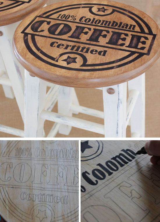 Upstyle Old Kitchen Stools with Coffee Designs | Click Pic for 28 DIY Kitchen Decorating Ideas on a Budget | DIY Home Decorating on a Budget