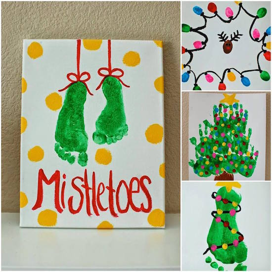 Mistletoes! Adorable handprint, fingerprint, and footprint canvas art to make with your kids!