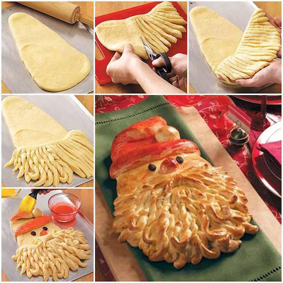 Santa Bread! This looks adorable (and tasty too!). Click the picture for the recipe.