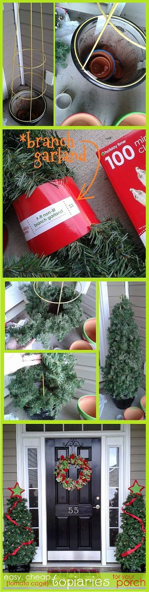 DIY Tomato Cage Christmas Trees.