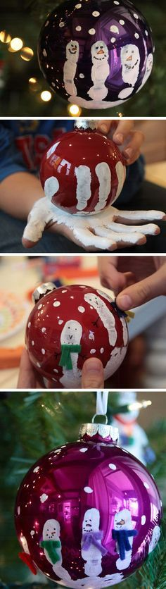 Handprint snowman ornaments!
