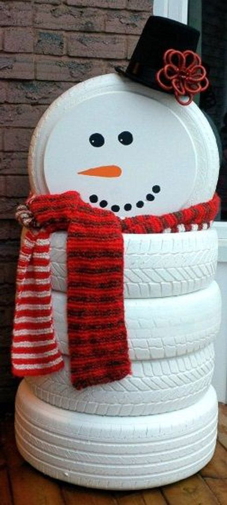 DIY Snowman Made of Tires.