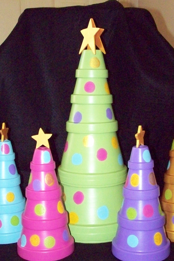 Terra cotta pot Christmas Trees!