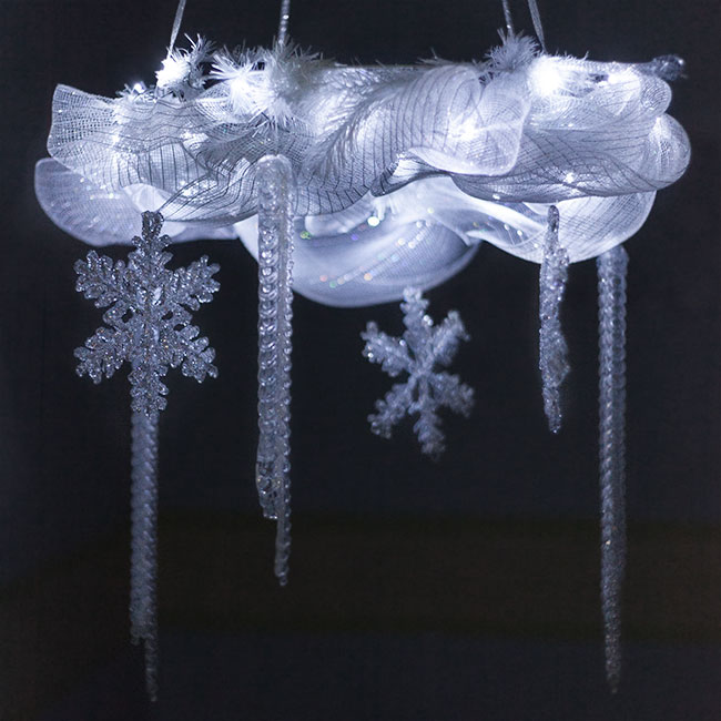 Frozen  Themed DIY Chandelier Light for Kids. Make a DIY Room Light using Fairy Lights, Snowflakes and White Ribbon!