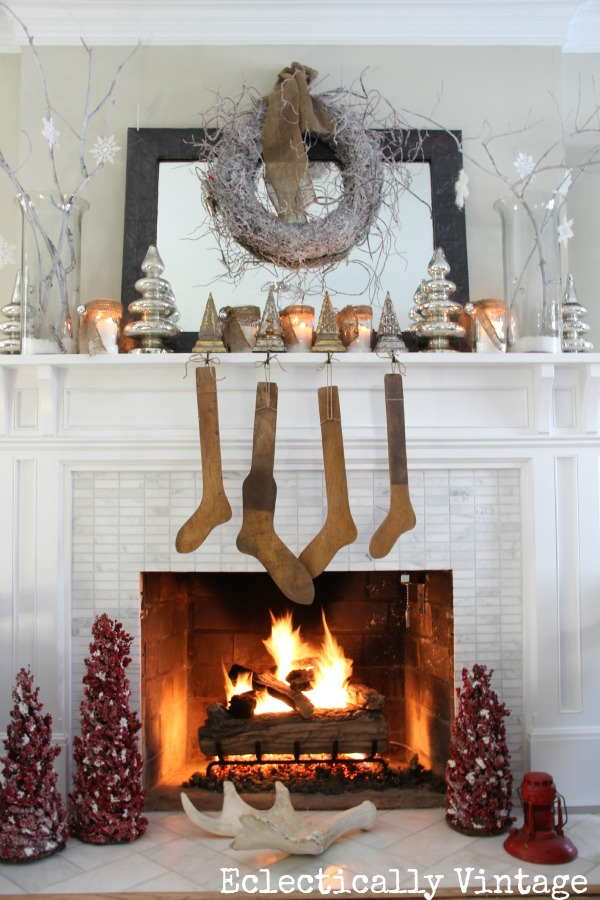 vintage style christmas mantel
