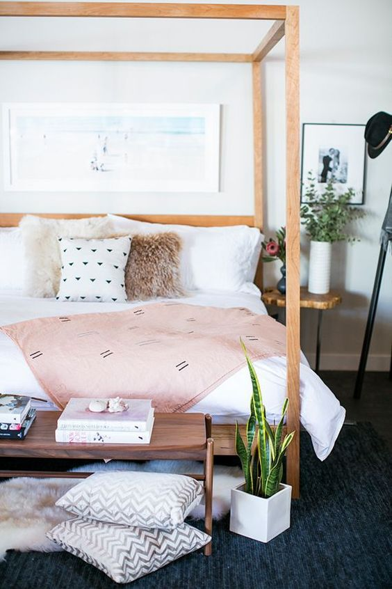 modern bohemian bedroom - wooden bed frame