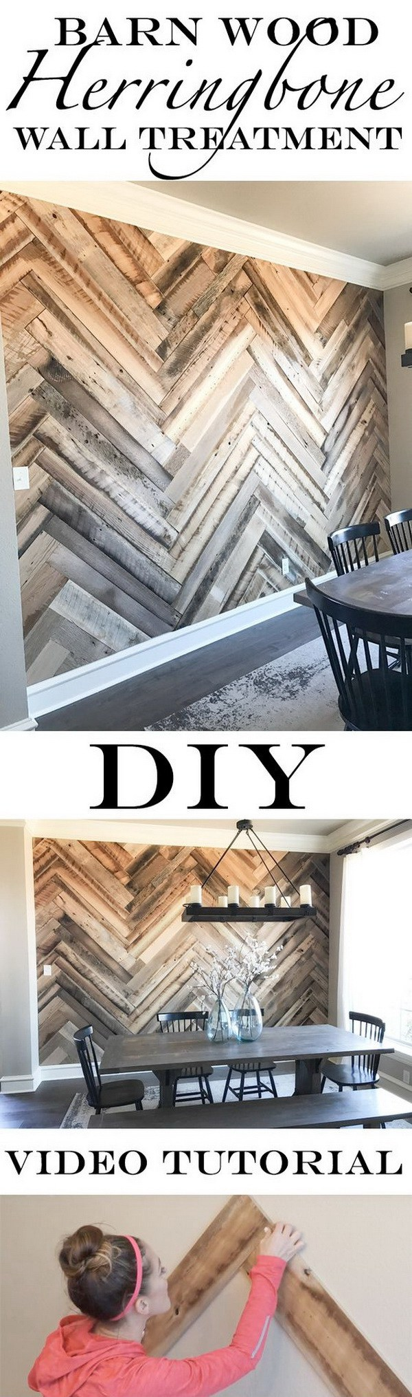 DIY Barn Wood Herringbone Wall Treatment. Create a herringbone reclaimed wood plank wall and add more character to any room in your home with this easy DIY barn wood herringbone wall treatment.