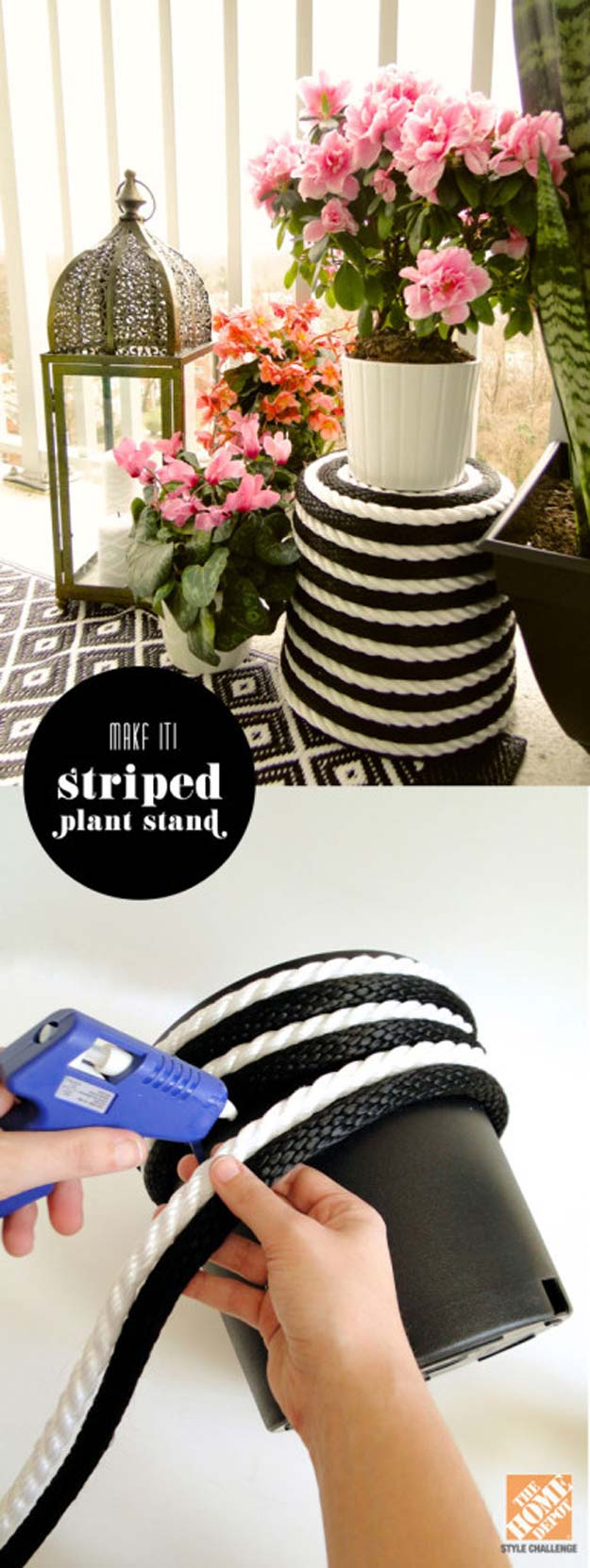 DIY Room Decor Ideas in Black and White - Stripe Plant Stand - Creative Home Decor and Room Accessories - Cheap and Easy Projects and Crafts for Wall Art, Bedding, Pillows, Rugs and Lighting - Fun Ideas and Projects for Teens, Apartments, Adutls and Teenagers http://diyprojectsforteens.com/diy-decor-black-white