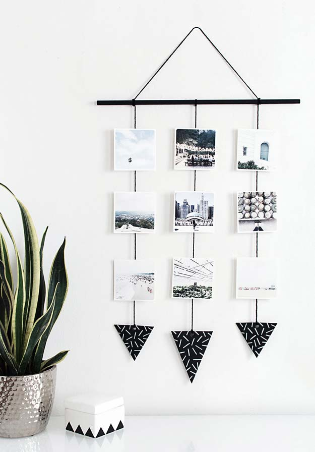 DIY Room Decor Ideas in Black and White - Photo Wall Hanging - Creative Home Decor and Room Accessories - Cheap and Easy Projects and Crafts for Wall Art, Bedding, Pillows, Rugs and Lighting - Fun Ideas and Projects for Teens, Apartments, Adutls and Teenagers http://diyprojectsforteens.com/diy-decor-black-white