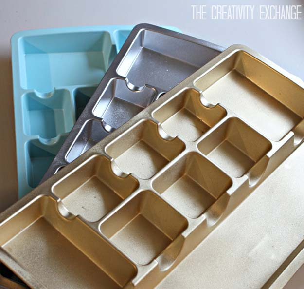 Gold DIY Projects and Crafts - Spray Paint Drawer Organizer - Easy Room Decor, Wall Art and Accesories in Gold - Spray Paint, Painted Ideas, Creative and Cheap Home Decor - Projects and Crafts for Teens, Apartments, Adults and Teenagers http://diyprojectsforteens.com/diy-projects-gold