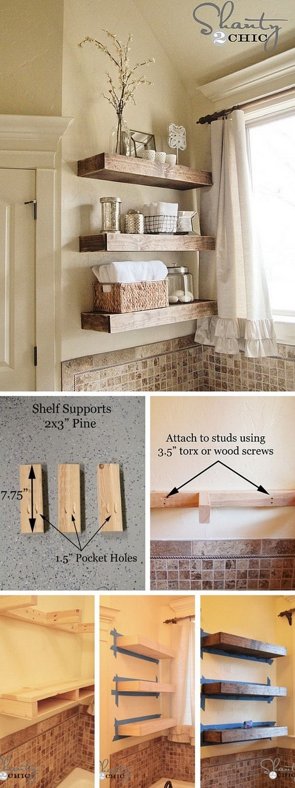 Easy DIY Floating Shelves. Wall mounted floating shelves are a great and easy way to use vertical space and add storage to any room.