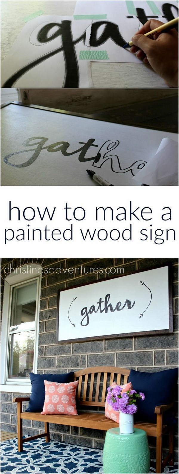 DIY Large Painted Wooden Sign: This painted wood sign is very easy to make. No special tools required and makes a statement to your home decor.