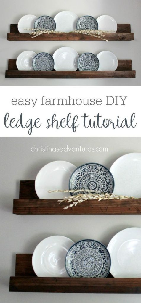 easy farmhouse DIY ledge shelf tutorial