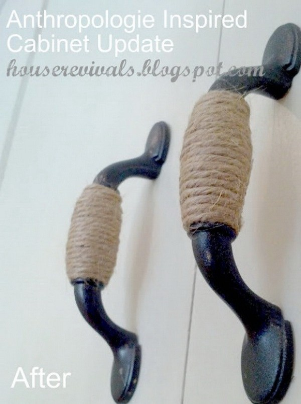 DIY Twine Wrapped Cabinet Handles: Simply wrap the handles in twine. It gives your kitchen a great rustic look.