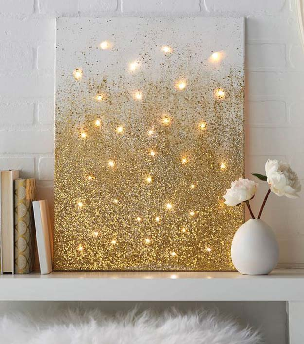 Gold DIY Projects and Crafts - Glitter and Lights Canvas - Easy Room Decor, Wall Art and Accesories in Gold - Spray Paint, Painted Ideas, Creative and Cheap Home Decor - Projects and Crafts for Teens, Apartments, Adults and Teenagers http://diyprojectsforteens.com/diy-projects-gold