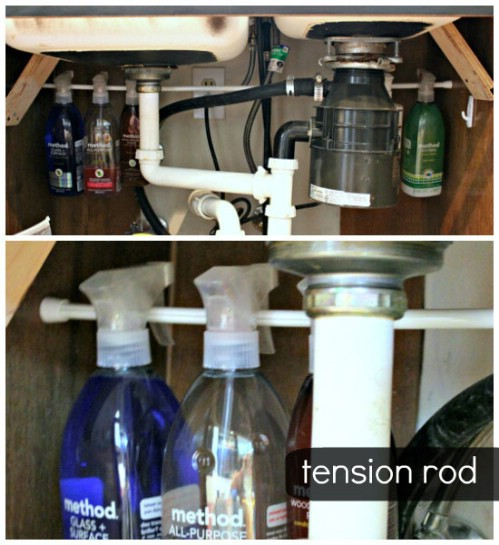 A Tension Rod Works Great Under the Sink - 150 Dollar Store Organizing Ideas and Projects for the Entire Home