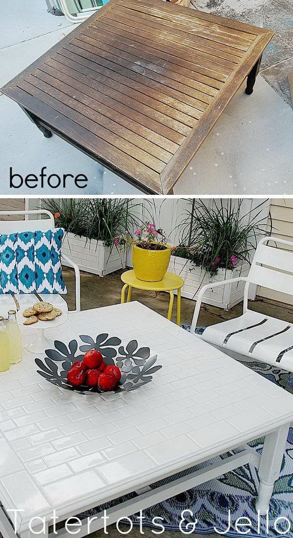 DIY Subway Tile Table Redo: Turnan old table into this fabulous table with subway tile tabletop.