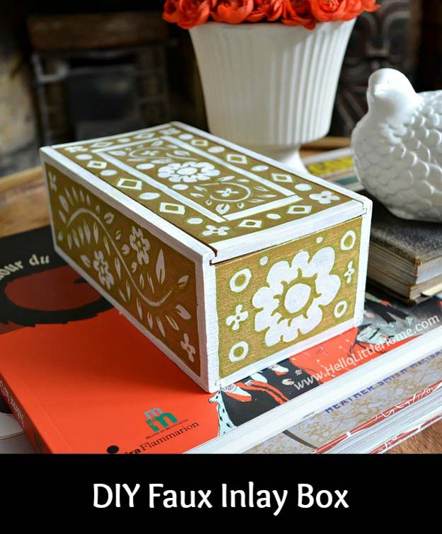 Gold DIY Projects and Crafts - DIY Faux Inlay Box - Easy Room Decor, Wall Art and Accesories in Gold - Spray Paint, Painted Ideas, Creative and Cheap Home Decor - Projects and Crafts for Teens, Apartments, Adults and Teenagers http://diyprojectsforteens.com/diy-projects-gold