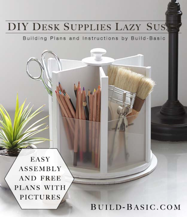 DIY Room Decor Ideas in Black and White - DIY Desk Supplies Lazy Susan - Creative Home Decor and Room Accessories - Cheap and Easy Projects and Crafts for Wall Art, Bedding, Pillows, Rugs and Lighting - Fun Ideas and Projects for Teens, Apartments, Adutls and Teenagers http://diyprojectsforteens.com/diy-decor-black-white