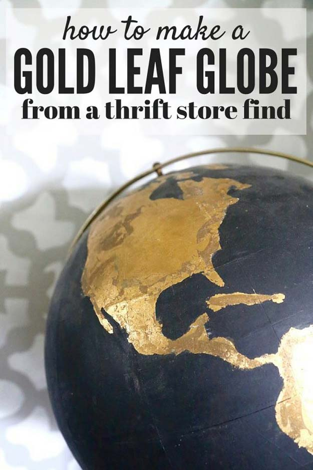 Gold DIY Projects and Crafts - DIY Black & Gold Globe - Easy Room Decor, Wall Art and Accesories in Gold - Spray Paint, Painted Ideas, Creative and Cheap Home Decor - Projects and Crafts for Teens, Apartments, Adults and Teenagers http://diyprojectsforteens.com/diy-projects-gold