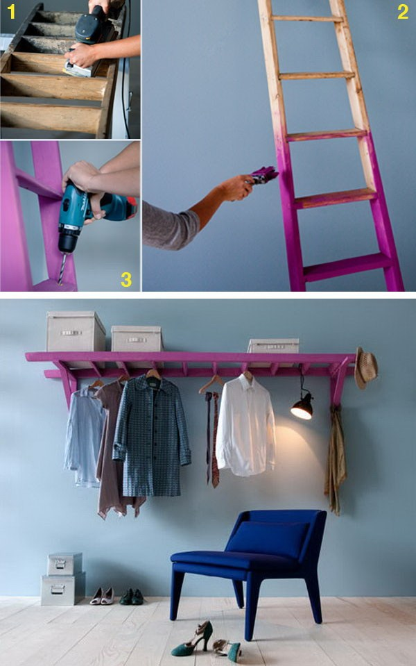 DIY Decorative Clothes Rack With Old Ladder. Instead of trashing your old ladder, turn it into a cheerful shelf together with 2 wooden brackets  to display your clothes and keep them organized.
