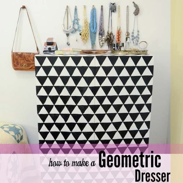 DIY Room Decor Ideas in Black and White - DIY Painted Geometric Dresser - Creative Home Decor and Room Accessories - Cheap and Easy Projects and Crafts for Wall Art, Bedding, Pillows, Rugs and Lighting - Fun Ideas and Projects for Teens, Apartments, Adutls and Teenagers http://diyprojectsforteens.com/diy-decor-black-white
